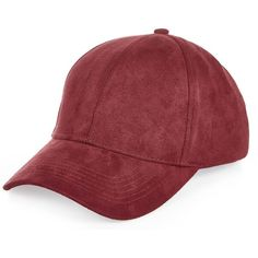 River Island Dark red faux suede cap ($20) ❤ liked on Polyvore featuring accessories, hats, red, red cap, peaked cap, river island, red hat and river island hat