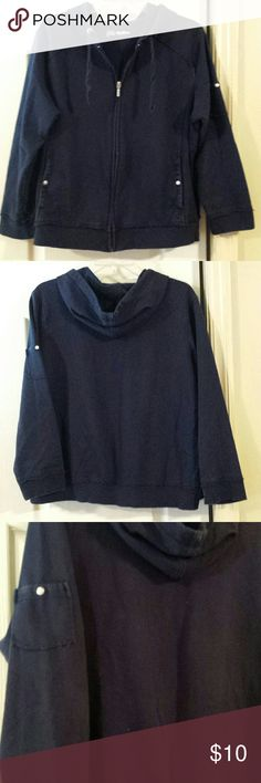 Navy Hoodie. Size XL. Hoodie with front pockets and small pocket on upper right arm. Navy blue. Good used condition. No holes or stains. Size XL. Tops Sweatshirts & Hoodies