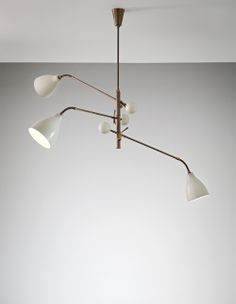 Arredoluce three-armed adjustable ceiling light 1950s mid-century