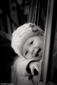 laughing baby - b & w photo