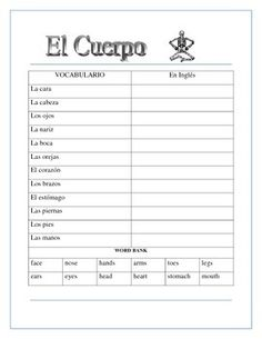1000 images about body parts las partes del cuerpo on pinterest body parts in spanish and. Black Bedroom Furniture Sets. Home Design Ideas