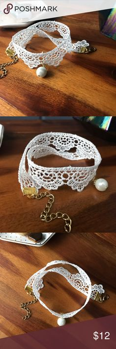 White scalloped lace choker White lace choker necklace with scalloped design, pearl detail, and gold clasps. Jewelry Necklaces
