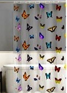 MULTI-COLOR BUTTERFLIES on CLEAR  (SEE-THRU) VINYL SHOWER CURTAIN   HOOKS ~ NEW