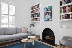 Built-in booksehelves - White House Fireplace Bookshelves, Bedroom Fireplace, Bookshelves Built In, Living Room Kitchen, Living Room Sofa, Home Living Room, Living Spaces, Living Area, Interior Design Inspiration
