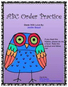ABC Order Practice- Owl Theme