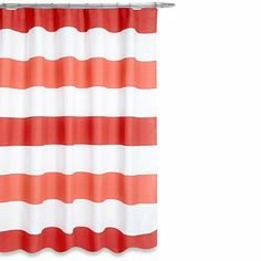 Boca Shower Curtain in Coral - BedBathandBeyond.com - with deep gray walls?
