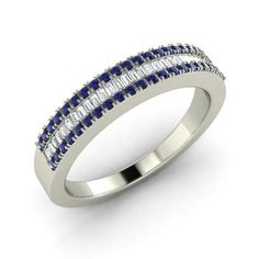 Round Sapphire Ring in 14k White Gold with VS Diamond