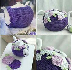 Knitted Tea Cosies, Crochet Mug Cozy, Cute Crochet, Crochet Yarn, Crochet Flowers, Tea Cosy Knitting Pattern, Tea Cosy Pattern, Crochet Blanket Patterns, Crochet Kitchen