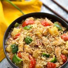 Crockpot Chicken Teriyaki, Quinoa, and Veggies - ALL thrown in the crockpot and dinner is ready!