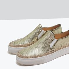 ZARA - SHOES & BAGS - EMBOSSED LEATHER PLIMSOLL