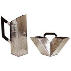 English Art Deco Pewter 2-Piece Coffee Set attributed to Gene Theobald.