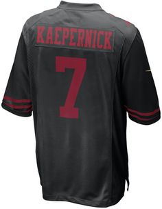 Do a double shout-out to the San Francisco 49ers and Colin Kaepernick with this Nike NFL Game jersey. This replica sports the player's number on both sides, with his last name featured across the back. V-neckline with TPU shield Short sleeves Screen print player number at front Screen print team graphics and Nike swoosh logos at sleeves Screen print player name and number at back Jock tag at hem Tagless Officially licensed Game day jersey Polyester Machine washable