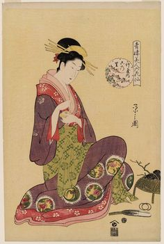 Konosato of the Takeya, from the series Beauties of the Yoshiwara as Six Floral Immortals (Seirô bijin Rokkasen)  Japanese about 1794–95 (Kansei 6–7) Artist Chôbunsai Eishi (Japanese, 1756–1829)