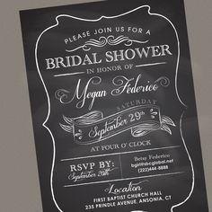 Items similar to Chalkboard Shower Invitation - Wedding Invites by Megan Elizabeth - Printed or Printable on Etsy Bridal Shower Chalkboard, Chalkboard Wedding, Wedding Cards, Our Wedding, Wedding Stuff, Vintage Chalkboard, Chalkboard Ideas, Chalkboard Invitation, Invitation Ideas