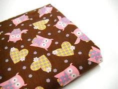 Owl Print Fabric, Brown and Pink 1 yd Remnant, Sewing Material