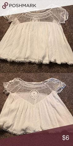 Aeropostale white blouse with lace top Worn once Aeropostale Tops Blouses