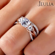 Breathtaking Princess Cut Engagement Rings ❤ Find Your Unique Designer Rings. Be Different. Be Unique. Gorgeous inlay engagement rings, handmade in the US, made just for you. Choose your inlay stone, metal and diamond for a truly unique look. Jeulia Three Stone Two Tone Round Cut Created White Sapphire Wedding Set 1.78CT  | The Jeulia Jewelry #JeuliaJewelry