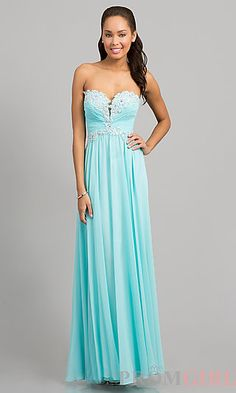 Strapless Blue Prom Gown with Lace Up Back at PromGirl.com #prom #promtheme