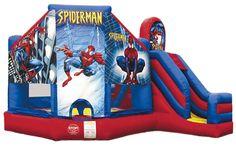 www.BounceandRebound.com (623) 396-5867 New Spiderman Combo with a Slide Bounce House, Water Slide, Inflatable Jumper Rentals |n Phoenix, AZ