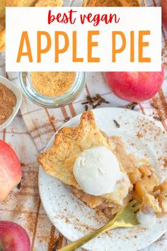 The best ever homemade vegan apple pie recipe made from scratch! Flaky and buttery crust with a warm spiced apple filling! #veganapplepie #veganpie #vegandessertrecipes #vegandesserts Healthy Vegan Desserts, Vegan Dessert Recipes, Delicious Vegan Recipes, Raw Food Recipes, Cooking Recipes, Sweet Spice, Vegan Pie, Apple Filling, Vegan Comfort Food