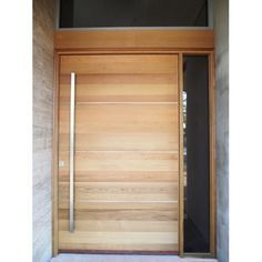 Beautiful heavy timber front door with long vertical door pull. Timber Front Door, Modern Front Door, Front Door Entrance, Front Door Design, Entrance Design, Front Door Decor, Entry Doors, Contemporary Front Doors, Modern Entrance