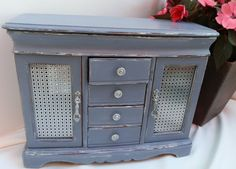 Upcycled Jewelry Box Refurbished Distressed & Painted in Old Violet Annie Sloan Chalk Paint