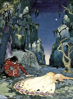 """""""Violette consented willingly to pass the night in the forest"""". Virginia Frances Sterrett illustration from Old French Fairy Tales (1920)."""