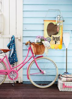 A pink bicycle is perfect for getting around Key West!