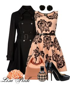 """""""OH SO PRETTY!! APRICOT & BLACK"""" by lichiep on Polyvore"""
