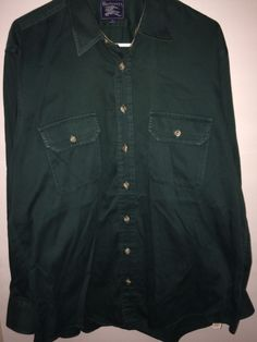 Burberrys Long Sleeve Button Down Green 100% Cotton Size Large #Burberry #ButtonFront