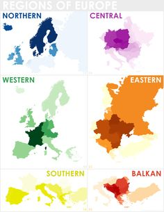 Regions of Europe, as defined by overlaying multiple maps from different sources