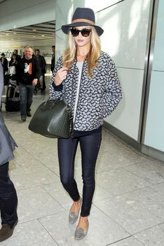 Rosie Huntington-Whiteley: flower jacket and aquazarra shoes