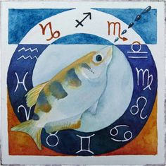 Zodiac Sagittarius fish © #watercolor by Frank Koebsch;  21 x 21 cm, $270; More information about the Zodiac can be found at http://frankkoebsch.wordpress.com/2011/10/05/sternzeichen-schutzenfisch-%C2%A9-aquarell-von-frank-koebsch/