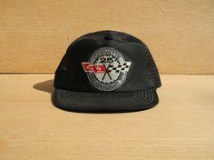 Vintage Black Mesh Snapback Trucker Hat - Corvette 25th Anniversary Cap