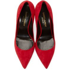 Saint Laurent Red Suede Paris Pumps (144.675 HUF) ❤ liked on Polyvore  featuring shoes 574aeb9f3b