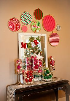 Apothecary jars filled with vintage glass balls ~ holiday fabric embroidery hoops by martina