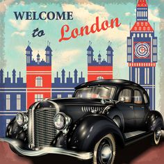 Vintage car with travel poster vector set 04