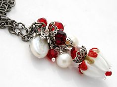 Christmas Red White Roses Necklace Lampwork by shalayneoriginals, $65.00