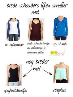 Zo lijken brede schouders smaller en smalle schouders breder  |www.lidathiry.nl | #bredeschouders #smalleschouders