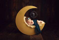 The Original - Newborn Photography Prop Moon, Moon Photo Prop, Wood Moon Prop via Etsy