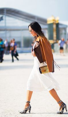 White Midi Dress (Song of Style) Street Style Blog, Street Chic, Street Wear, Street Fashion, Fall Fashion, Leather Jacket Dress, Moto Jacket, Suede Jacket, Song Of Style