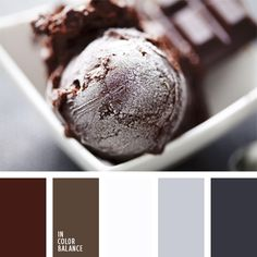 blanco, blanco y gris, color chocolate, color chocolate oscuro, color del chocolate lechoso, color helado de chocolate, de color plata, gris oscuro, marrón claro, marrón oscuro, tonos fríos del marrón, tonos grises, tonos marrones.