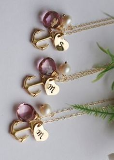 monogram initial necklaces! I love these anchors for a nautical theme