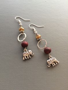 lucky elephant  and sandalwood earrings by eversdesigns on Etsy https://www.etsy.com/listing/218097179/lucky-elephant-and-sandalwood-earrings