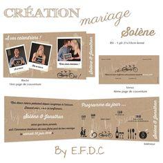 faire part mariage impression fond kraft, thème vélo, à personnaliser, 1 pli 21x10cm fermé, photos des futurs mariés type polaroid, pictogrammes pour le programme du jour, scrap digital