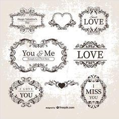 Free vector Vintage Valentine's Day ornamental labels, frames illustrator.. More Free Vector Graphics, www.123freevectors.com