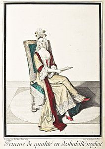 1680/90s NY inventories mention silk nightgowns (robes) with collars and lined ---- 109: A volume of 17th and 18th century fashion plates a : Lot 109