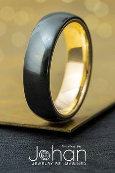 Yellow gold and black zirconium combine for a sleek, modern style. #JewelrybyJohan #WeddingBand