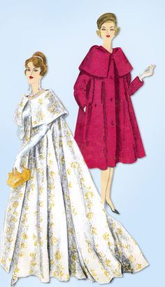 1950s Vintage Original Vogue Pattern 9823 Rare Misses Evening Coat Size 32 Bust #Vogue