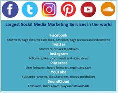 Get social media followers, likes, shares, views etc. with cheap rate. #SocialMediaMarketing #twittermarketing #facebookmarketing #instagrammarketing #pinterestmarketing #soundcloudmarketing #youtubemarketing